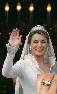 Hello!-Crown Princess Letizia (on her wedding day wearing the Prussian Diamond Tiara) with a closeup of her wedding and engagement rings