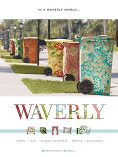 Trash bins covered in colorful fabric! Trash day would be my favorite day :) Haha this is funny! Trash Can Covers, Waverly Wallpaper, Wallpaper Cabinets, Trash Day, Waverly Fabric, Urbane Kunst, Decoupage, Garbage Can, Garbage Truck