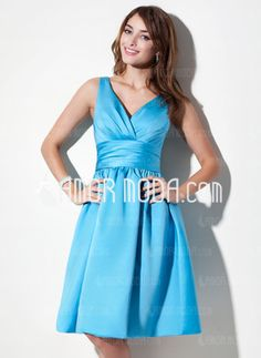 Amor Moda - A-Line/Princess V-neck Knee-Length Satin Bridesmaid Dress With Ruffle - $103.99
