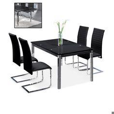 SILLA MAIKA 69€ Silla de comedor tapizada en polipiel negra, con estructura en cromo. Medidas: 43x55x110 cm.