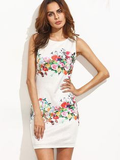 Vestido floral sin manga entallado-Sheinside