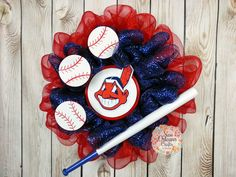 New Orleans Crafts by Design: Cleveland Indians Deco Mesh Baseball Wreath