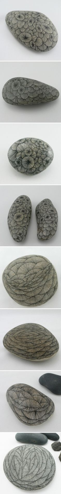drawing on stones by Yoran Morvant, using drafting pen & ink by angelique