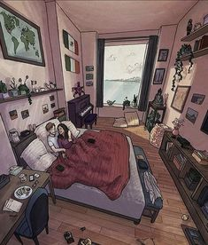 Aesthetic Rooms, Aesthetic Art, Aesthetic Anime, Bedroom Drawing, House Drawing, Drawing Art, Illustrations, Illustration Art, Jr Art