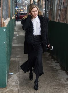Olivia Palermo is seen arriving to the Michael Kors Collection Fall 2017 runway show at Spring Studios on February 15 2017 in New York City