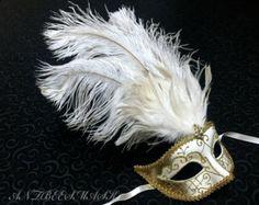 Brocado negro veneciano encaje traje bola Porm boda por AntbeesMask