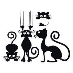 Vinilos Decorativos Gatos Decoration Creche, Cat Silhouette, Cat Tattoo, Cat Drawing, Rock Art, Cat Art, Painted Rocks, Vinyl Decals, Car Decals