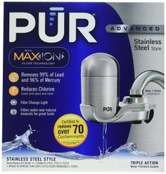 PUR NEW Advanced Faucet Water Filter Stainless Steel Style by PUR * Visit the image link more details. (This is an affiliate link) Best Water Filter, Water Filter Pitcher, Water Filters, Water Purification Process, Water Purification Tablets, Black And Decker Toaster, Structured Water, Water Filtration System, Water Coolers