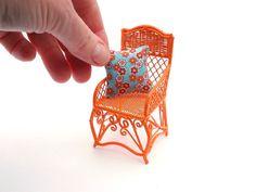 Miniature Garden Chair, Tangerine, with Cute Cushion, One Inch Scale, Dollhouse Miniature