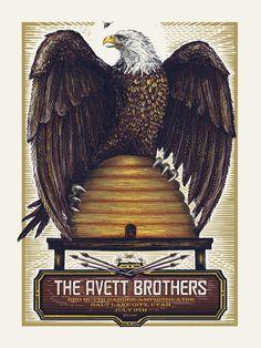 Bright The Avett Brothers 2014 Zeb Love Poster Print Shrine Auditorium Los Angeles Art