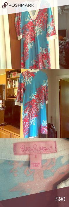 Lily Pulitzer dress Coral three quarter sleeve dress Lily Pulitzer Dresses Midi