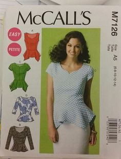 McCalls Pattern M7126 Misses' Close-fitting, pullover tops 4 styles sizes 6-14