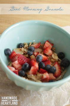 Good Morning Granola, delicious coconut gluten free granola.  My favorite breakfast! HandmadeintheHeartland.com