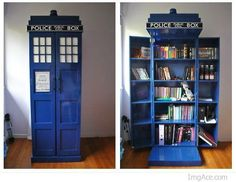 Tardis bookshelf - Sadly dimensions on the inside equal dimensions on the outside.
