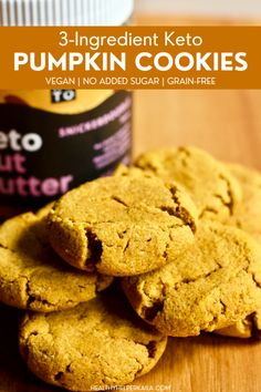 Whether it's pumpkin season or not, these 3-ingredient keto pumpkin cookies are too good to pass up! Rich and buttery tasting, yet gluten-free, grain-free, and vegan.