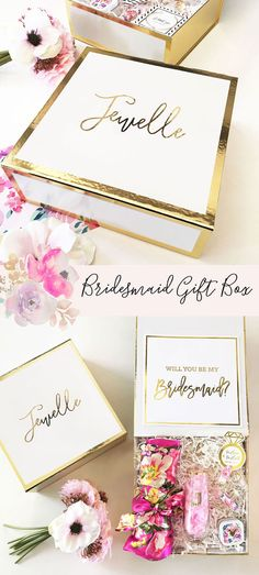 Bridesmaid Proposal Box: Will You Be My Bridesmaid? Have your bridesmaid's name displayed on her own personalized keepsake box in gold metallic vinyl! Get it here.