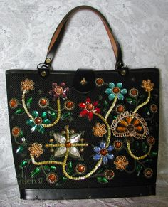 Vintage Enid Collins Black Bucket Handbag, circa 1963
