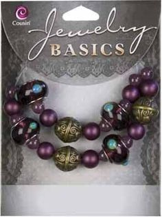 25pc Glass Dark Purple Large Hole Mix - 6-14mmJewelry Basics An exquisite collection of classic beads that will sparkle in your homemade jewelry creations.  Features large, purple glass beads, with complimentary accents.  Fashion this set into an alluring bracelet or necklace with individual style!Mixed Glass/Metal Bead StrandPurple Beads, with Large HolePurple, Teal, and Golden Accents [$4]