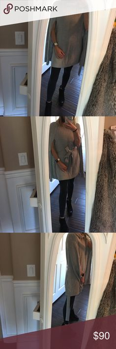 Cute sweater dress Grey sweater dress. Can be worn as a dress or with leggings underneath. Great for layering in the cold. Like new. Worn once Halogen Sweaters Shrugs & Ponchos