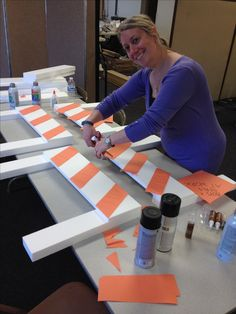 Construction barriers. Repurposed foam packaging from donated boxes. Orange construction paper for stripes. Workshop of Wonders VBS.