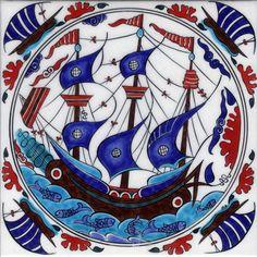 İznik Vakıf Çinileri Turkish Art, Turkish Tiles, Portuguese Tiles, Moroccan Tiles, Traditional Tile, Traditional Artwork, Arabesque Pattern, Nautical Art, Mandala Drawing