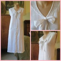 Beautiful neckline.   Dandelion Vintage Clothing, weekly updates page: 1920s and 1930s linen dresses, 1940s suit, 2 larger sized 1950s dresses, Mollie Parnis 1980...