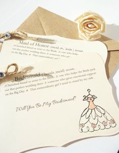 Will You be my Bridesmaid  Definition Bridesmaid by LillyThings, $11.50