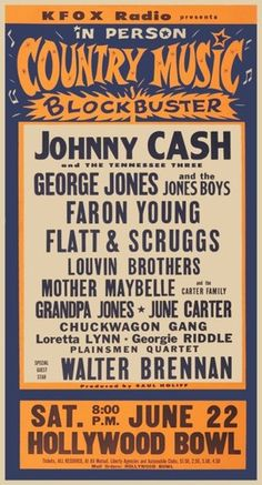 Johnny Cash - Country Night At The Bowl - 1963 - With Loretta Lynn, George Jones, The Louvin Brothers, Flat & Scruggs - Past Daily Pop Chronicles Old Country Music, Country Music Artists, Country Music Stars, Country Singers, Outlaw Country, Vintage Country, Country Style, Johnny Cash, Johnny And June