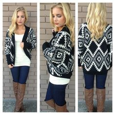 Black & White Aztec Knit Cardigan on Wanelo
