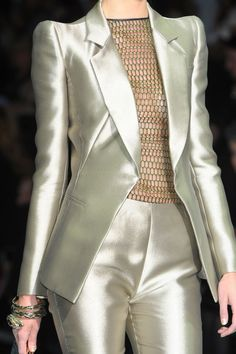 Armani Prive  Love this suit.... a little more opaque blouse would be nice.