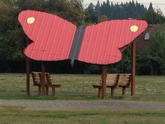 In Portland- butterfly shade structure