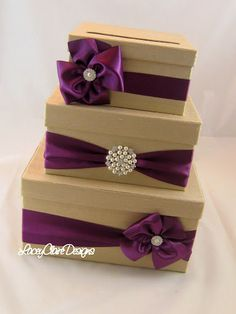 Wedding Card Box love the purple ribbon but I would do gray/charcoal instead of the tan.