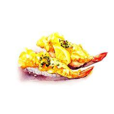 手绘水彩 美食食物 插图插画 涂鸦绘图 吃货福利 天妇罗 寿司 日本料理