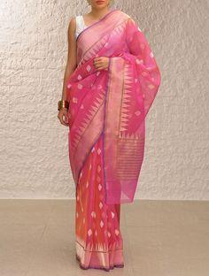 Buy Shaded Pink  Gold Handloom Benarasi Kora Saree by Ekaya Online at Jaypore.com