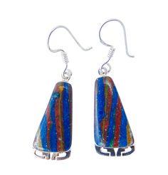 Navajo Rainbow Calsilica Dangle Earrings