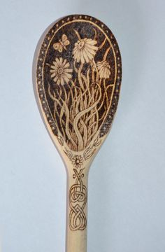 Pyrographed wooden spoon, can be personalised.. £10.00, via tricianewell via Etsy.