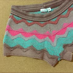 "Goddis Knit Shorts Fun Knit Shorts by Goddis! Size SM/Med - waist measures 14"" Stretches to 17"". Inseam is 2"" & Total length 9"". These are in excellent condition with no obvious signs of wear. They are hand knitted & very soft. Goddis is a great brand of knitwear that can be found on Revolve Clothing & in many high end boutiques & spas! Goddis Shorts"