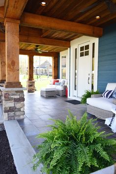 Love a tiled porch with wood beams overhead (click through for all the details :)