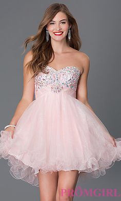 Short Strapless Sweetheart Babydoll Dress by Alyce at PromGirl.com