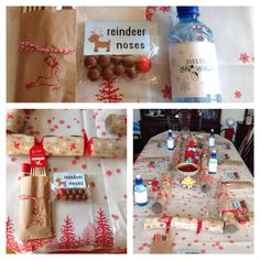 """Christmas 2013 table setting """"Melted Snowman"""" / Water bottles to drink Reindeers noses as table gift Cutlery& napkin placed inside a brown paper bag, which I stamped with a reindeer stamper& red ink!"""