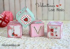 DIY Valentine's Love Blocks made with @decoart chalky finish paints and @echoparkpaper #decoartprojects #happy30thdecoart