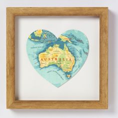 The perfect gift for lovers of this wide brown land, Australia. Framed map. Visit www.hardtofind.com.au #art #australiana