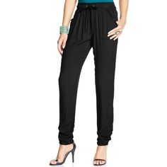 Rewash Juniors' Cinched Soft Pants ($22) ❤ liked on Polyvore featuring pants, black, relaxed pants, ruched pants, jogger trousers, jogger pants and relaxed fit pants