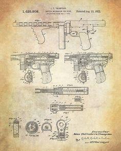Thompson Submachine Gun Patent Art Print - Tommy Gun Patent Art Poster - Firearms Patent Print - Machine Gun Patent Print - Weapons Patent Invention Patent, Gun Art, Submachine Gun, Patent Drawing, Cool Inventions, Patent Prints, Rifles, Firearms, Weapons