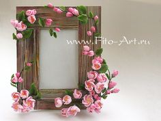 Decor: Photo frame with flowers pink apple - Fito Art Polymer Clay Flowers, Fimo Clay, Ceramic Flowers, Polymer Clay Art, Cold Porcelain Flowers, Clay Art Projects, Polymer Clay Projects, Polymer Clay Creations, 3d Quilling