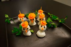Mozzarella Snowmen are the perfect holiday-inspired appetizers!