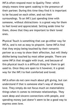 I'm touch and quality time, words of affirmation, acts of service, and lastly gifts. Infj Mbti, Intj And Infj, Enfj, Infj Love, Infj Personality, Psychology Facts, Thing 1, Feelings, Words