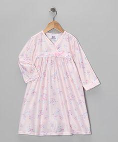 Pink Bouquet Surplice Nightgown - Toddler & Girls