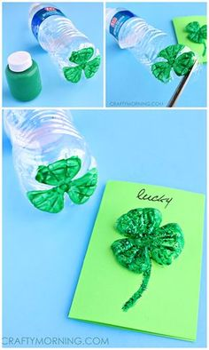 Water Bottle 3 Leaf Clover Cards - Pretty st. patrick's day craft!   CraftyMorning.com
