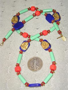 Miriam Haskell Egyptian Necklace Brass & Glass by drjewelsvern, $425.00